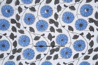 Indian Hand Art (Indian Blue Floral Hand Block Print Cotton Fabric Dressmaking Sewing Art By Yard )