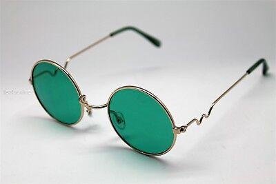 GREEN ROUND SUN GLASSES GOLD FRAMES TRIGUN VAMPIRE COSPLAY STEAM PUNK (Green Hipster Glasses)
