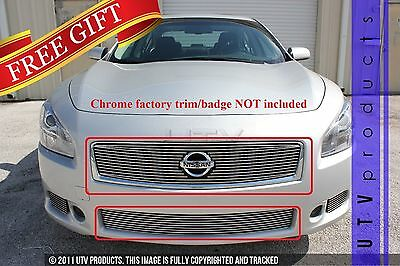 GTG Polished 2PC Overlay Billet Grille Grill Kit fits 2012 - 2014 Nissan Maxima