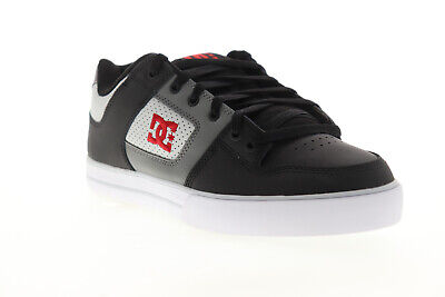 DC Pure 300660 Mens Black Gray Leather Lace Up Athletic Skate Shoes Men Gray Leather