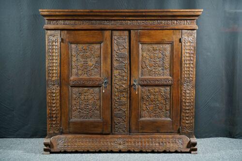 German oak cupboard, 18th century (dated 1732)