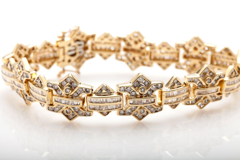 "Estate $20,000 12ct Baguette Round Diamond 14k Yellow Gold Bracelet 66g 8"" Heavy"