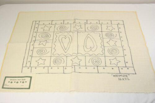 WHIMSIE geometric rug hooking pattern linen canvas folk art hearts star 16x22