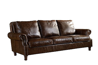 Crafters   Weavers Top Grain Vintage Leather English Rolled Arm 3 Seater Sofa