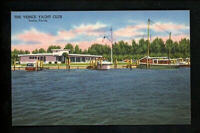 Florida FL postcard Venice Yacht Club boat docks linen