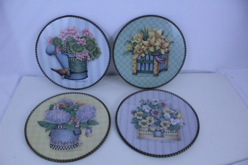 Lot of 4 Debbie Mumm Floral Art Work Flue Covers Wall Art Metal Lock Chain Frame