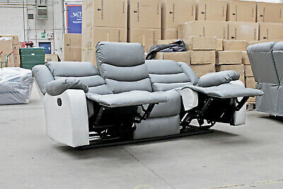 TORONTO 3 Seater High-Backed LazyBoy Leather Recliner Sofa CLEARANCE