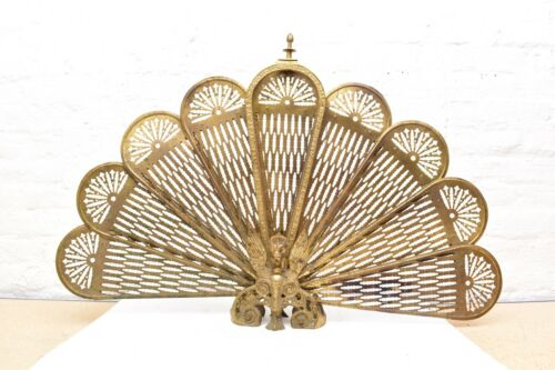 "VTG Brass Cameo ART DECO Style Fireplace Screen Folding Peacock Fan Ornate 36"""
