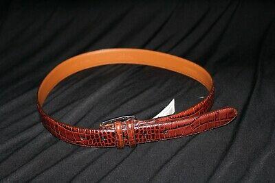 Polo Ralph Lauren Italian Leather Brown Alligator Crocodile Print Belt 42
