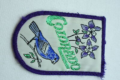 Vintage Colorado State Bird & Flower Purple White Embroidered Patch Collectible