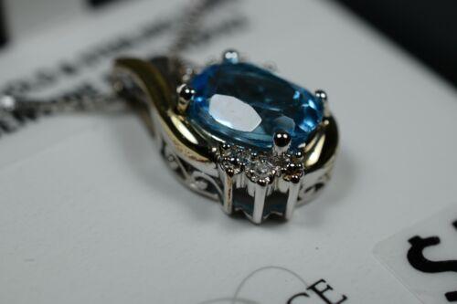 NEW Blue Topaz & Diamond 10k Gold & Sterling Silver Women's Pendant & Necklace