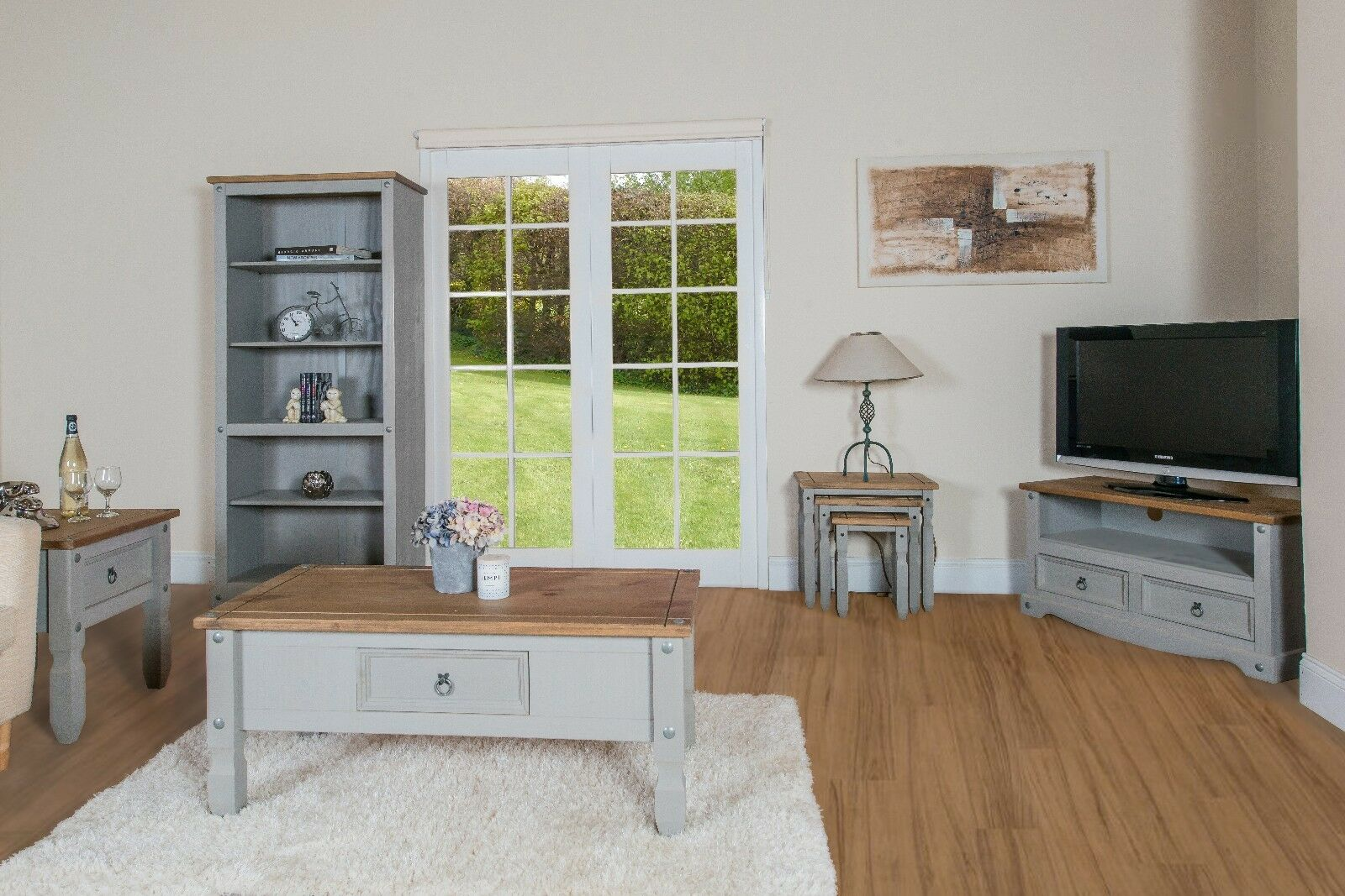 Premium Corona Grey Washed Effect Solid Pine 2 Drawer Tv Cabinet Up To 44 Ebay