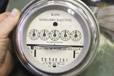 00000 Zero Reset Sangamo Gray Watthour Meter Kwh Type J4s I-70s 240v Fm2s 200a