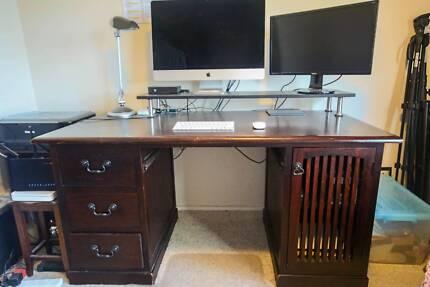 Solid Timber Computer Desk - Dark Wood Bilgola Pittwater Area Preview