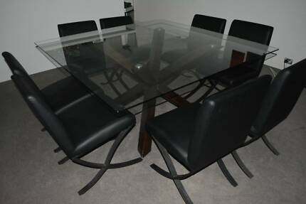 Nick Scali Quattro glass dining table & 8 chairs Woolloomooloo Inner Sydney Preview