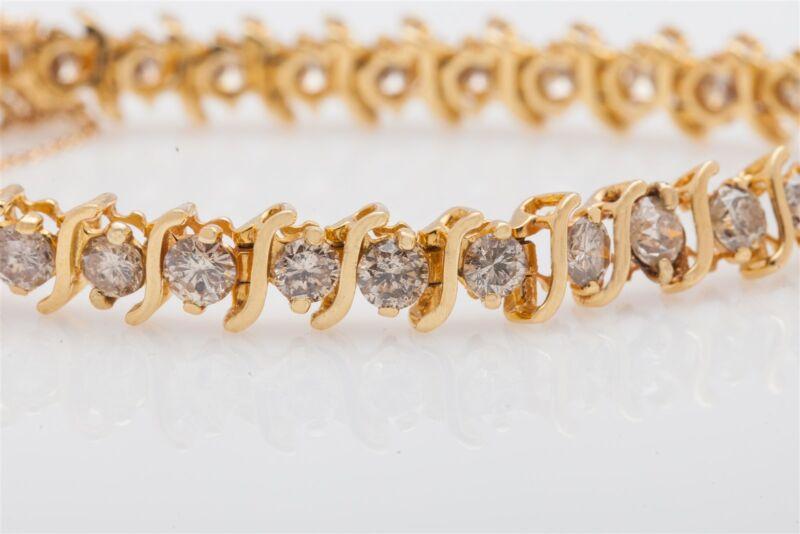 Estate $10,000 6ct Diamond 14k Yellow Gold S Link Tennis Bracelet 17g Heavy