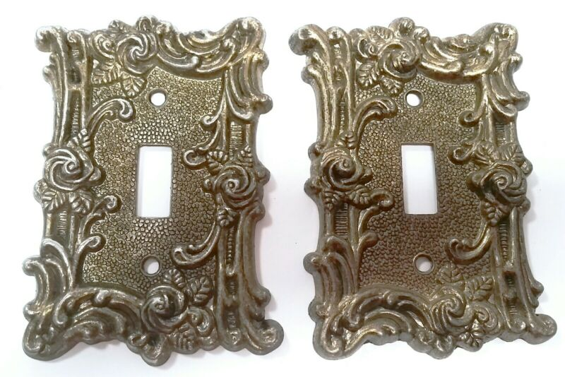VTG American Tack & Hardware Gold Roses Outlet switch cover 1967