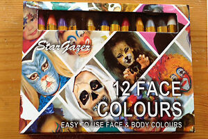 Face Paint Crayon 12 Small Sticks Halloween Animal Clown Costume Stage Stargazer