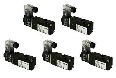 5x 12v Dc Solenoid Air Pneumatic Control Valve 3 Port 3 Way 2 Position 18 Npt