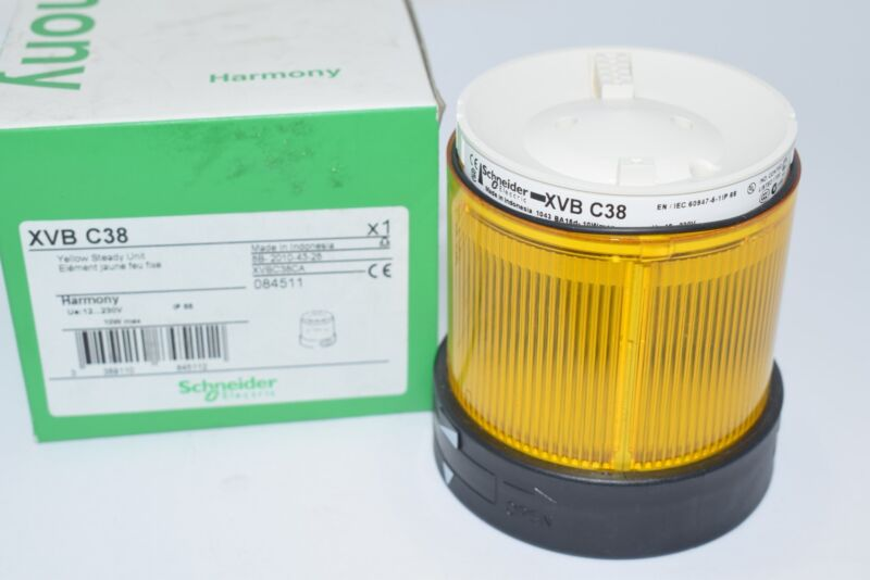 NEW Schneider Electric XVBC38 Visual Warning Device, Module, Steady Lens, Yellow