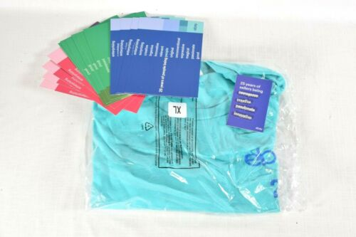 25th Anniversary EBAY Logo T-SHIRT Size XL New Sealed 100% Cotton + Pins & Cards