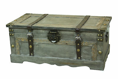 Rustic Gray Large Wooden Storage Trunk (Rustic Trunk)
