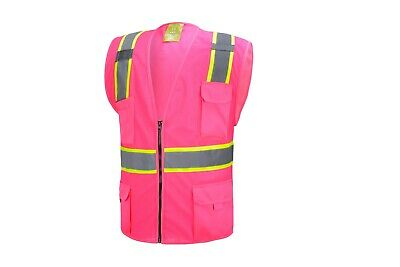 Pink Two Tones Safety Vest With Multi-pocket Tool
