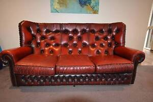 Burgundy Genuine Leather Chesterfield Lounge 3 Piece Suite Spotswood Hobsons Bay Area Preview