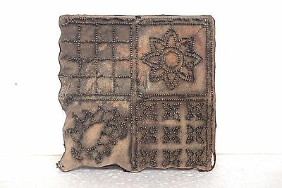 1900 Vintage Wooden Copper Wire Antique Hand Carved Textile Printing Block T-32