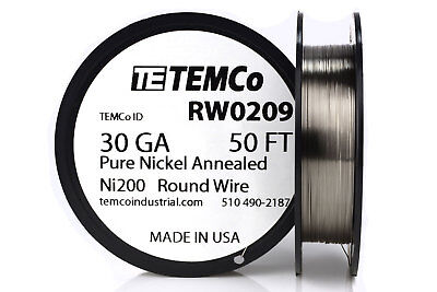 Temco Pure Nickel Wire 30 Gauge 50 Ft Non Resistance Awg Ni200 Nickel 200ga