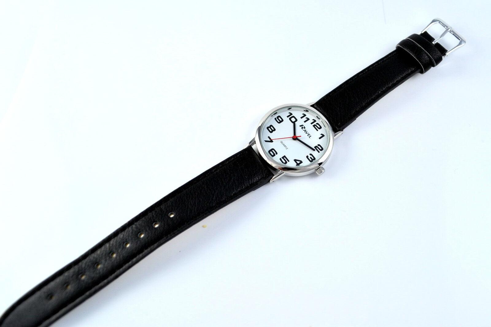 efe5f2addca2 Ravel hombres señoras grandes números reloj fácil leer claro línea Extra  largo Negro correa