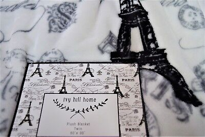 NEW IVY HILL HOME PARIS FRENCH EIFFEL TOWER POSTCARD POSTALE TWIN PLUSH BLANKET