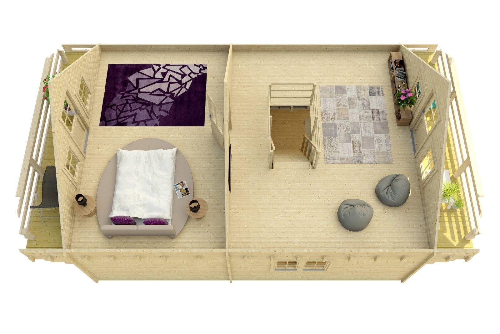 1000sq ft 19'x34'split level Log Cabin guest vacation pool house DIYBuilding Kit