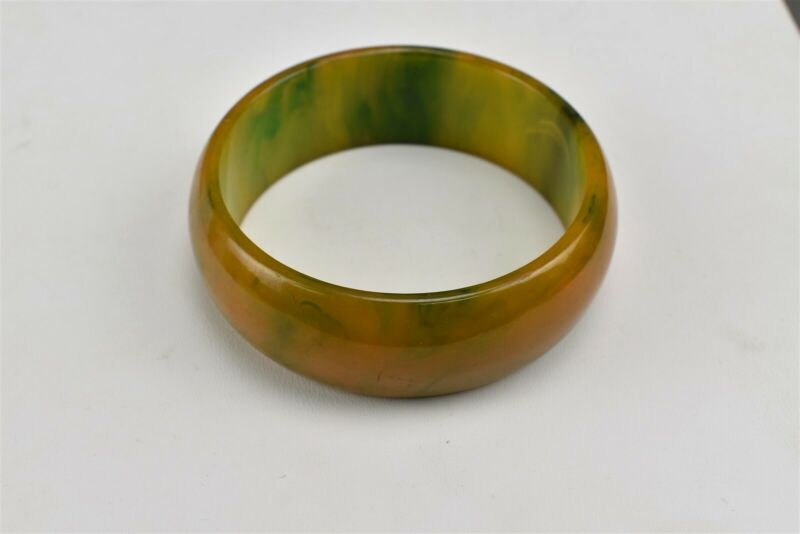 Bakelite Wide Bangle Bracelet Orange Green Yellow Marbled
