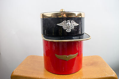 Vintage Kraftware Ice Bucket with Lid and Tongs Colonial Military Captain Design