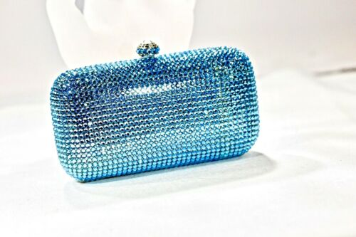 Fully Crystallized Evening Bag Clutch Small Blue Purse with Swarovski Crystal
