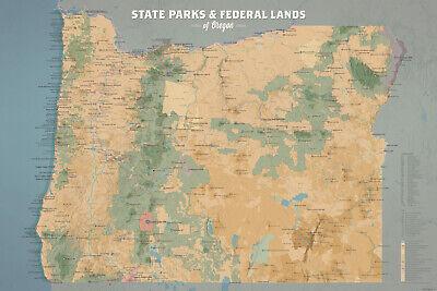Oregon State Parks & Federal Lands Map 24x36 Poster (Camel & Slate Blue)