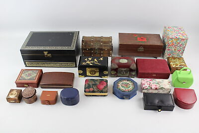 20 x Assorted Vintage JEWELLERY BOXES Inc Musical, Travel Size, Leather, Gents