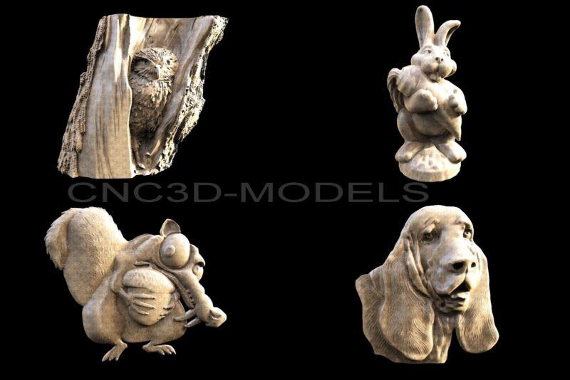 3D STL Models for CNC Router Engraver Carving Artcam Aspire Dog Owl 1191