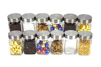 12x Vorratsgläser Edelstahl Deckel Gewürzgläser Glas Aufbewahrung Lebensmittel
