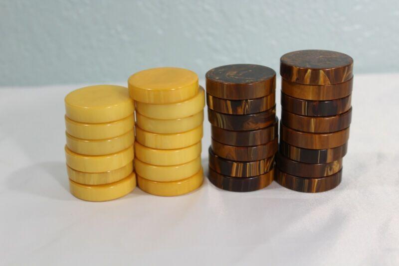 "28 Vintage Bakelite Butterscotch and Chocolate Swirl Backgammon Checkers 1.5"""