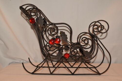 "Santa Sleigh Scroll Wrought Iron Black Metal Christmas Centerpiece 11.5""x9""x3.5"""
