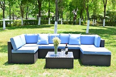 7 PCS Patio Furniture Outdoor Couch Wicker Rattan Cushioned Sofa Sectional Set  ()