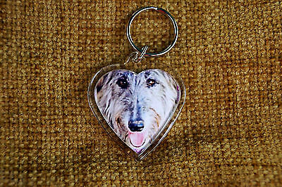 Deerhound Gift Keyring Dog Key Ring heart shaped gift Valentine