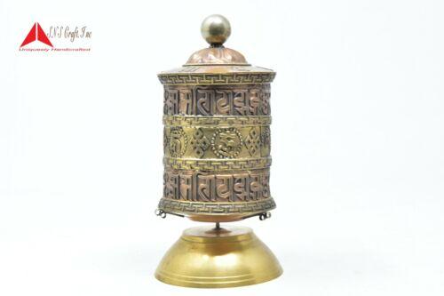 8.5 Inchs Table top Authentic Buddhist Handmade Mantra symbol Prayer wheel Nepal