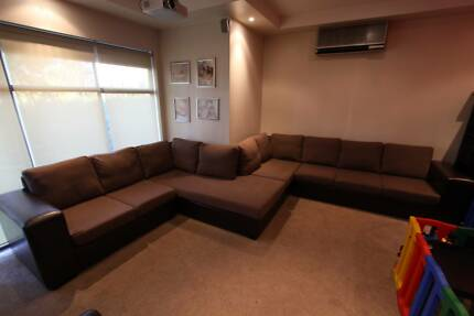 7 to 9 seater lounge brown: 2 & 3 seater section & 2 chaises South Penrith Penrith Area Preview