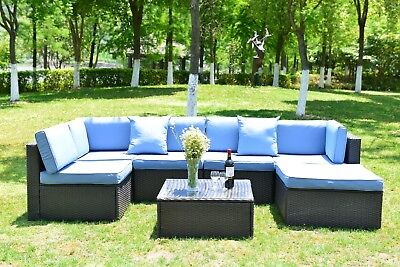 7 PCS Outdoor Wicker Rattan Sofa Patio Cushioned Furniture Sectional Set Couch