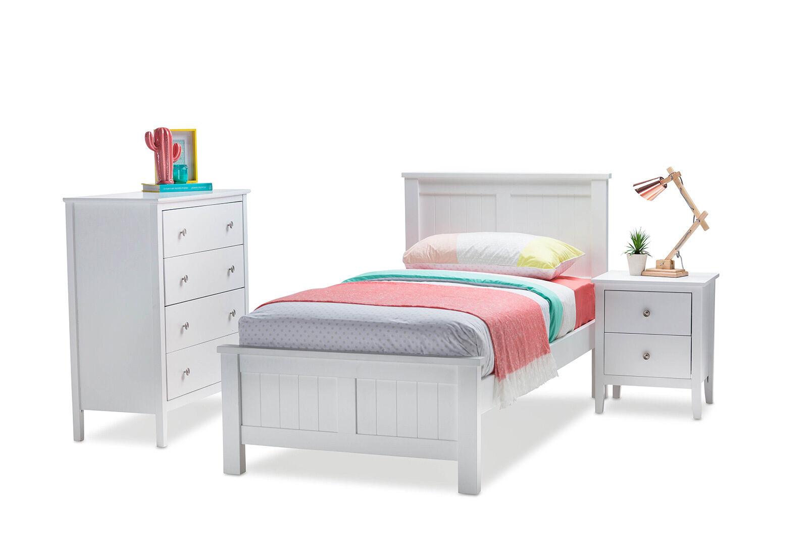 Elegant White Timber King Single Bed Frame Only For Kids Bedroom Boys Or Girls