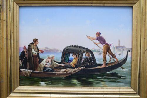 Luigi Bianchini Italian painting porcelain plaque Venice Elemosina Lagoon signed