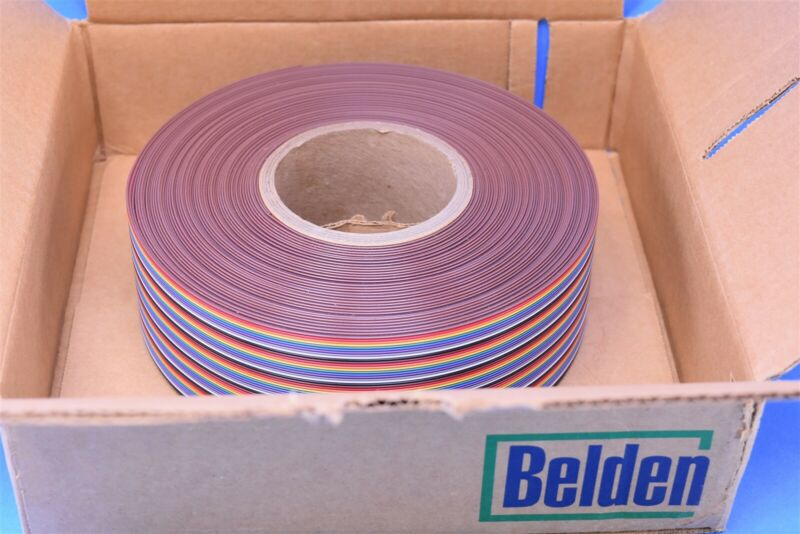 Belden 9R28050 100Ft. 50-Conductor Rainbow Flat Ribbon Cable 28AWG 105*C 300V